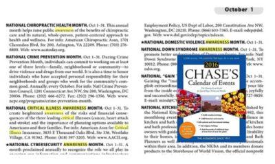 Critical illness awareness month Chase's calendar