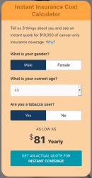 cancer insurance quote male age 45